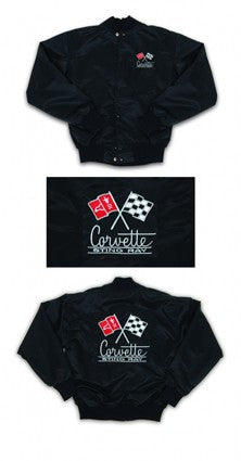 Corvette Satin Jacket, With C2 1966 Logo, Black - [Corvette Store Online]