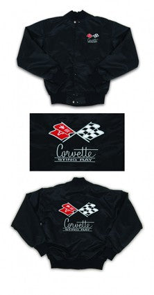 Corvette Satin Jacket, With C2 1967 Logo, Black - [Corvette Store Online]
