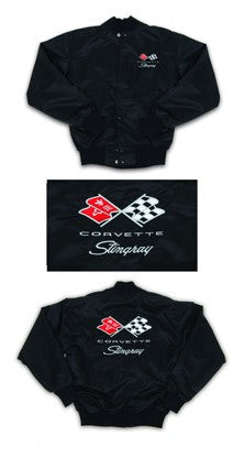 Corvette Satin Jacket, With C3 1969-1972 Logo, Black - [Corvette Store Online]