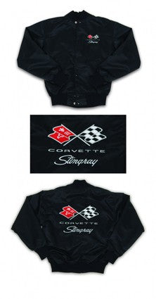 Corvette Satin Jacket, With C3 1973-1976 Logo, Black - [Corvette Store Online]