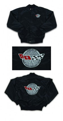 Corvette Satin Jacket, With C3 1978 Silver Anniversary Logo, Black - [Corvette Store Online]