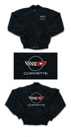 Corvette Satin Jacket, With C4 1984-1990 Logo, Black - [Corvette Store Online]