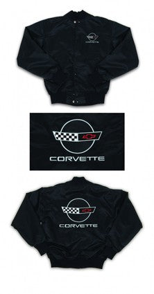 Corvette Satin Jacket, With C4 1991-1996 Logo, Black - [Corvette Store Online]