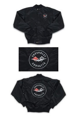 Corvette Satin Jacket, With C1 1961 Logo. Black - [Corvette Store Online]