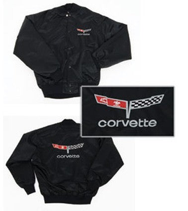 Corvette Satin Jacket, With C3 1980-1981 Logo, Black - [Corvette Store Online]