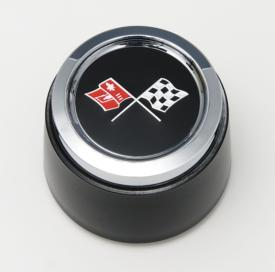 Corvette Wheel Center Cap, Black, w/ Emblem, For Cars With Aluminum Wheels, 1976-1979 - [Corvette Store Online]