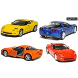 "Set of 4: 5"" 2007 Chevy Corvette Z06 1:36 Scale (Blue/Orange/Red/Yellow) - [Corvette Store Online]"