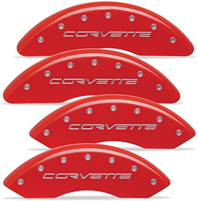 C6 Corvette Brake Caliper Covers MGP Red With Logo Z06 / Grand Sport, 2006-2013