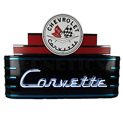 Art Deco Marquee Corvette Neon Sign In Metal Can - [Corvette Store Online]