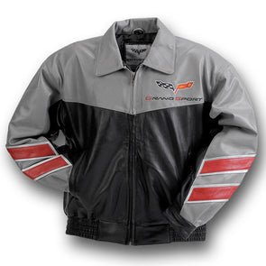 Corvette Grand Sport Leather Jacket Grey/Black - [Corvette Store Online]