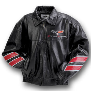 Corvette Grand Sport Leather Jacket Black/Red - [Corvette Store Online]