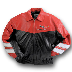 Corvette Grand Sport Leather Jacket Red/Black - [Corvette Store Online]