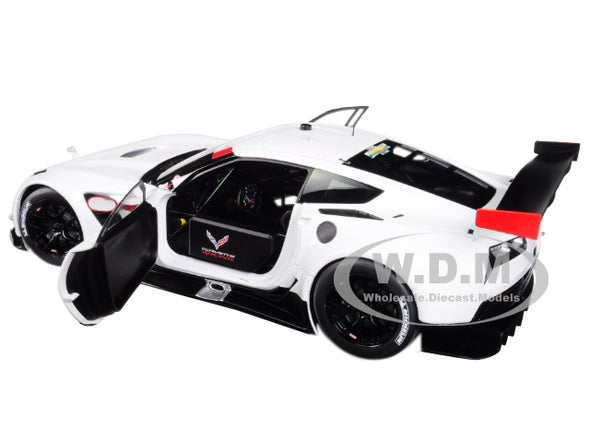 Chevrolet Corvette C7 R White w/ Red Accents 1/18 Model - [Corvette Store Online]