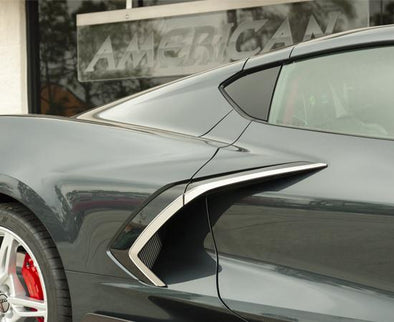 C8 Corvette - Side Vent Trim 4Pc | Brushed Stainless Steel w/Chrome Molding