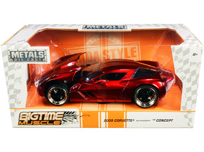 2009 Corvette Stingray Concept Red Metallic Bigtime Muscle 1/24 Diecast