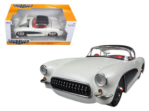 1957 Corvette Satin Cream Metallic w/ Matt Black Top 1/24 Diecast - [Corvette Store Online]