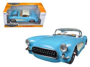 1957 Chevrolet Corvette Sky Blue w/ Cream Top 1/24 Diecast - [Corvette Store Online]