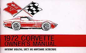 Corvette Owner's Manual 1972 - [Corvette Store Online]