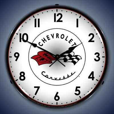 C1 Corvette Crossed Flags Lighted Clock Profile - [Corvette Store Online]