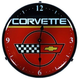 C4 Corvette Logo Lighted Made in USA Clock - [Corvette Store Online]