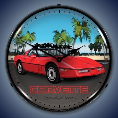 C4 Red Corvette Lighted Wall Clock - [Corvette Store Online]