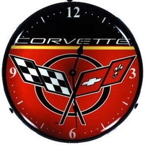 C5 Corvette Logo Lighted Made in USA Clock - Black/Red - corvettestoreonline-com