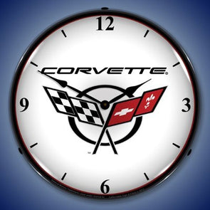 C5 Corvette Logo Lighted Made in USA Clock - White - corvettestoreonline-com