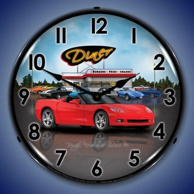 C6 Corvette Convertible Diner Lighted Clock - [Corvette Store Online]