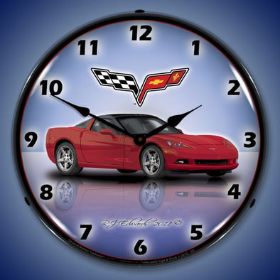 C6 Corvette Lighted Clock | Factory Colors - corvettestoreonline-com