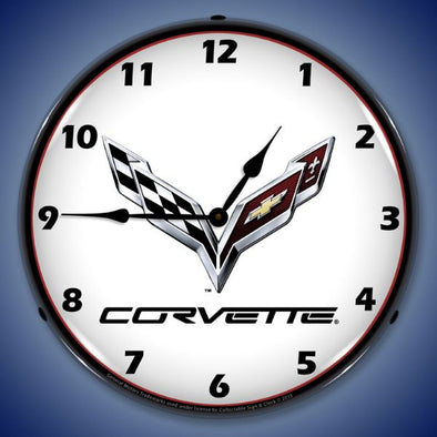 C7 Corvette Lighted Wall Clock - [Corvette Store Online]