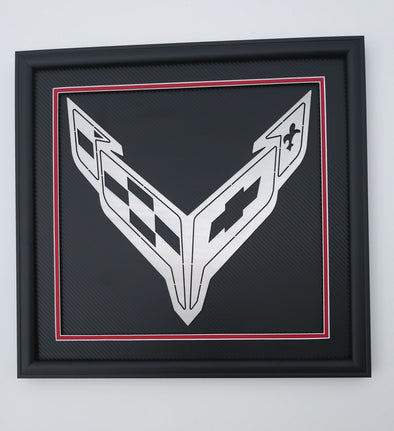 Next Generation Corvette Crossed Flag Emblem Shadowbox - [Corvette Store Online]