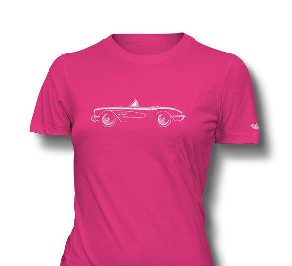 C1 Corvette 1958 Convertible Ladies T-Shirt - [Corvette Store Online]