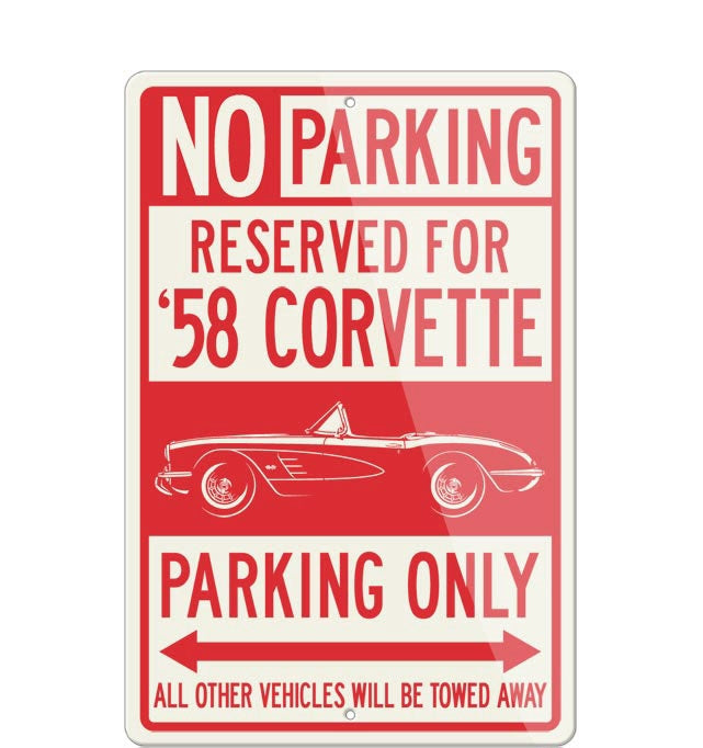 C1 Corvette 1958 Convertible Reserved Parking Only Sign - [Corvette Store Online]