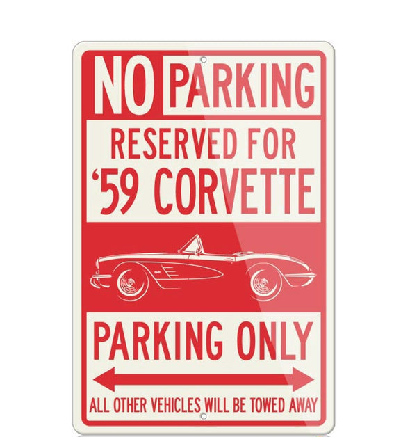 C1 Corvette 1959 Convertible Reserved Parking Only Sign - [Corvette Store Online]
