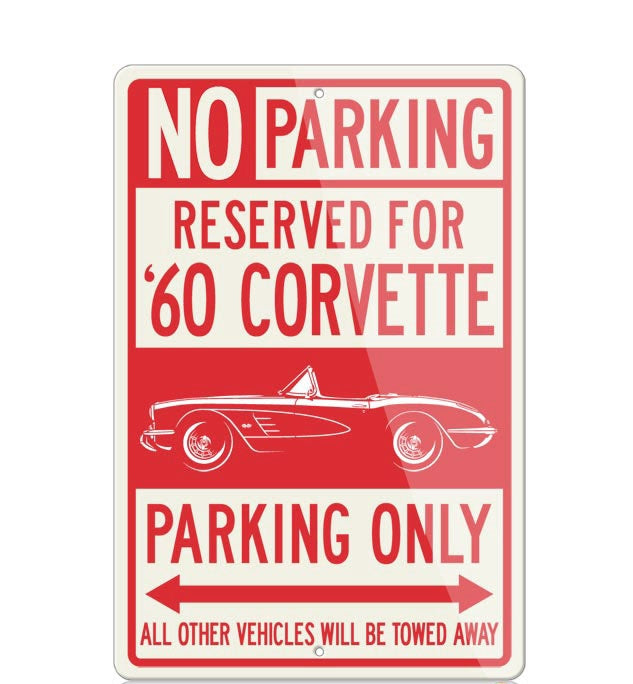 C1 Corvette 1960 Convertible Reserved Parking Only Sign - [Corvette Store Online]