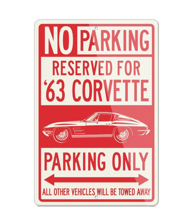 C2 Corvette 1963 Stingray Split Window Reserved Parking Only Sign - [Corvette Store Online]