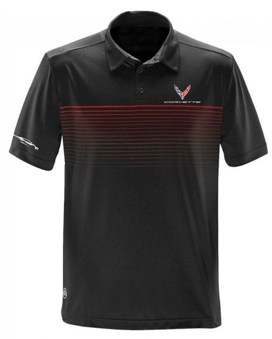 Corvette Next Generation Gesture Striped Polo - Black/Bright Red - [Corvette Store Online]