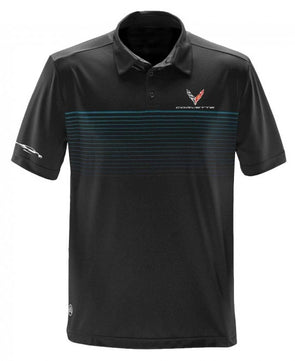 Corvette Next Generation Gesture Striped Polo - Black/Electric Blue - [Corvette Store Online]
