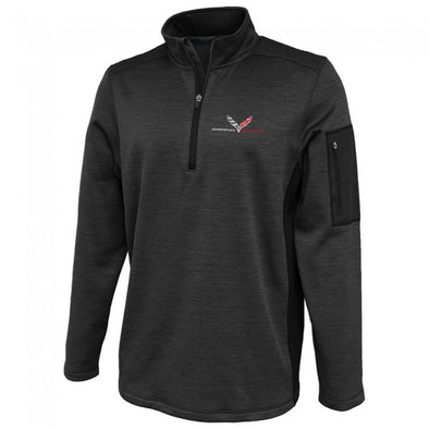 Grand Sport Corvette Men's Quarter-Zip Pullover- Graphite