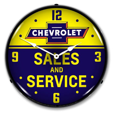 Chevrolet Bowtie Sales and Service Lighted Clock - [Corvette Store Online]