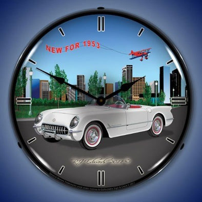 Lighted Corvette New for 1953 Wall Clock - [Corvette Store Online]