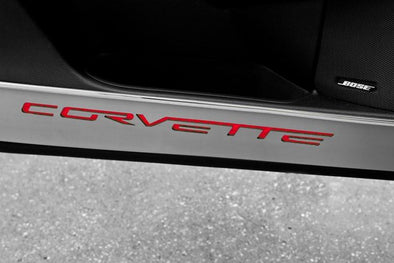 C6 Corvette | Door Guards | Brushed Carbon Fiber | Corvette Inlay | 2 pc - [Corvette Store Online]
