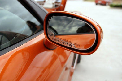 C6 Corvette | Side View Mirror Trim | 2 pc | Crossed Flags - [Corvette Store Online]