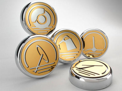 C5/C6 Corvette Gold Executive Series Fluid Cap Cover | Automatic | 5Pc - [Corvette Store Online]