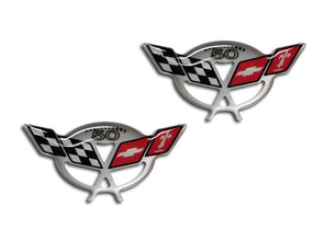 50th Anniversary C5 & Z06 Corvette Crossed Flag Raised Emblem Decals - [Corvette Store Online]