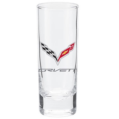 C7 Corvette Premium Cordial Glass 2. 5 oz. Logo printed full color. - corvettestoreonline-com