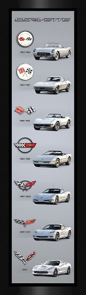 Corvette Generations Cars Vertical Canvas Print