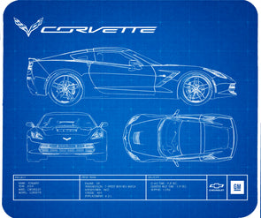C7 Corvette Blueprint Computer Mouse Pad