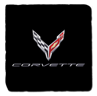 Next Generation Corvette C8 Crossflags Script Black Tile Coaster