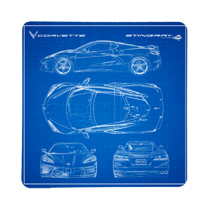 Next Generation C8 Corvette Blueprint Stone Coaster